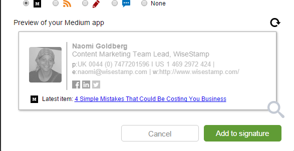 Add Medium Blog to WiseStamp email signature