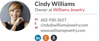 Jewelery store business owner email signature template