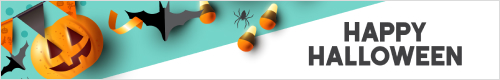 Halloween banner with bats